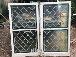 Fenêtre ancienne et son imposte en chêne avec vitraux 148 cm x 140 cm XIXE S