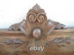 Fronton D Armoire Ancien En Bois Sculptee Rosace Long 1.28 CM