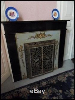 Garniture de cheminée en bronze et laiton de style Second Empire Décor de paons