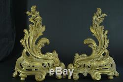 Grand Chenet Ancien Cheminée Feu Bronze Doré Louis XV