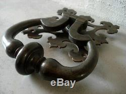 Grand & lourd ancien heurtoir de porte ou marteau fer forge GOTHIQUE