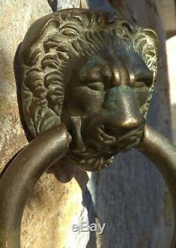 Grande Heurtoir de porte en bronze, Tete de Lion, XIXeme, 20cm, 1,17kg