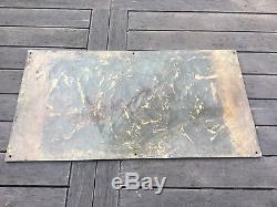 Grande Plaque de bronze signe R art deco pour porte ancienne