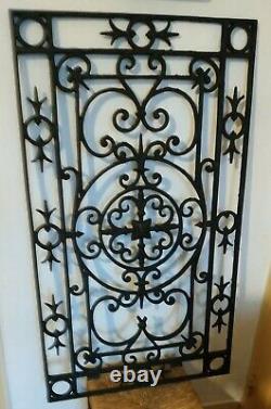 Grille fonte de fer forgé porte fenêtre décoration 15 kg 93,5 x 54,5 cm vintage