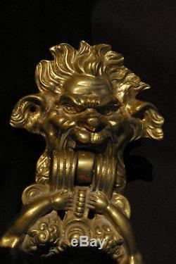 Gros Heurtoir Bronze pour porte ancienne Château Rare modèle style Renaissance