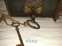 Grosse Serrure Ancienne à 2 clés Fer et Laiton avec ses deux clés