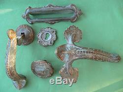 Heurtoir Poignée Boîte aux lettres Entrée Art Déco Nouveau bronze porte ancien