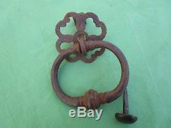 Heurtoir marteau de porte d'entrée Anneau rosace ouvragée fer forgé ancien
