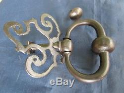 Heurtoir marteau de porte d'entrée Anneau rosace ouvragée fer forgé ancien 10 cm