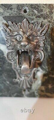 Heurtoir / sonnette de porte Bronze Argenté Tête De Lion Diable XIXEME