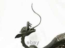 Importante poignée de porte en fer forgé DRAGON ancienne dragon handle door
