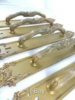 LOT de 5 Poignées Tirant Fixe Bronze doré Style Louis XV Récent / Belle qualité