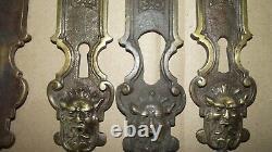 Lot 10 ancienne Plaque de Propreté porte XVIIIème BRONZE diable mascaron chateau