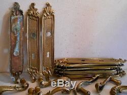 Lot 14 Ancienne Poignée Porte Plaque Serrure Bronze 6,5 KG Louis XV Baroque