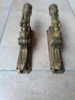 Lot 2 ancienne cremone bronze poignee porte fenetre deco chateau maison maitre