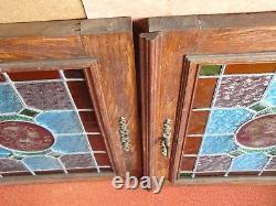 Lot 2 vantaux petites portes Vitraux au plomb Déco loft