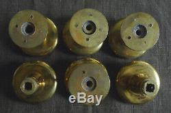 Lot K 6 boutons de porte laiton Louis XVI fleur diamètre 55 mm + rosace