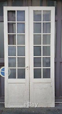 Lot de 2 doubles portes anciennes en pin, à décaper deco loft vintage