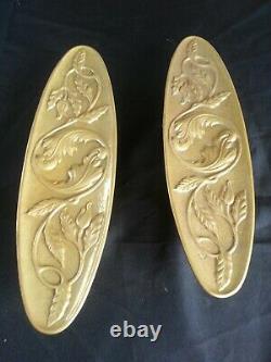 Lot de 2 imposantes poignées anciennes style Art Nouveau Bronze