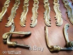 Lot de 4 paires poignées de portes et plaques anciennes en bronze doré