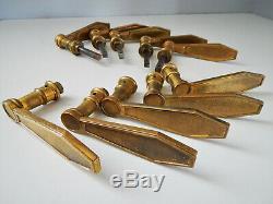 Lot de 5 Ancienne Paires de Poignée de porte F. T Bronze Massif Art Déco, Vintage