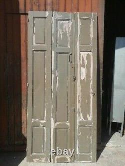 Lot volets / portes / 3 elements bois massif patiné ep 1930 227cm