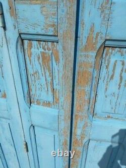 Lot volets / portes / 4 elements bois massif patiné ep 1940 212cm