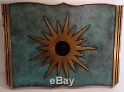 Lourde enseigne bronze de Librairie de livres anciens, soleil, 35 cm, Superbe