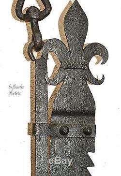 Magnifique grande crémaillère de cheminée royaliste daté 1821