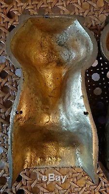 PAIRE CARIATIDE BUSTE DE FEMME ORNEMENT MEUBLE EN BRONZE OU LAITON haut 11,3 cm