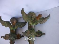 Paire D'ornements, Porte, Heurtoirs en Bronze Angelot, Putti, Chérubin