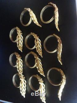 Paire d'anciens supports de tringle a rideau + 10 anneaux st. Empire bronze doré