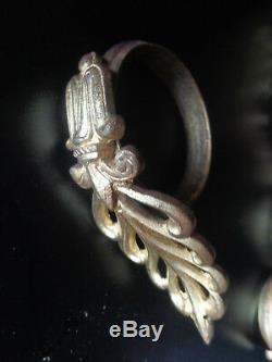 Paire d'anciens supports de tringle a rideau +10 anneaux st. Empire bronze doré