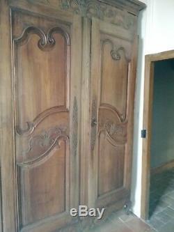 Paire de Portes d'armoire ancienne fin XIX ème noyer