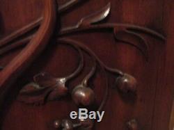 Paire de panneaux anciens-portes-chimères-bois sculpté massif- carved wood