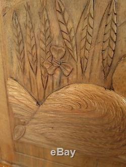 Paire de panneaux de portes anciens -canards-bois sculpté massif- carved wood