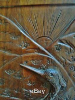 Paire de panneaux de portes anciens -hérons-bois sculpté massif- carved wood