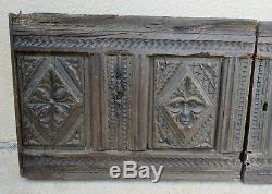 Paire de panneaux en bois sculpté 16-17ème / Portes Haute-époque / Carved wood