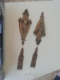 Paire de plaque de propreté ancienne, époque années 20 en bronze doré