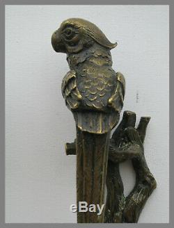 Paire de poignée bronze porte perroquet design decoration maison art animalier
