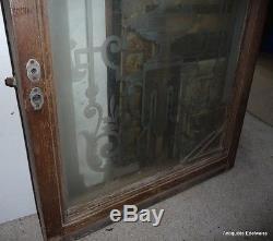 Paire de porte de bistrot / entre deux pièces Verre dépolis décor vase médicis