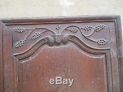 Paire de porte sculptée en chêne de placard d'armoire ancienne 19éme