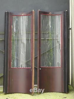 Paire de portes 1960, de vitrine, à verres bombés, 150 X 50 cm