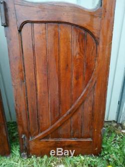 Paire de portes Art Nouveau chêne