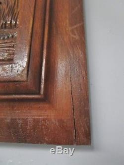 Paire de portes anciennes de meuble en bois sculpté-déco chasse -carved wood-