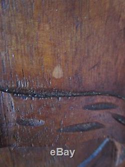 Paire de portes anciennes de meuble en bois sculpté-déco noeuds -carved wood-