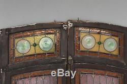 Paire de portes aux vitraux d'époque début XXème