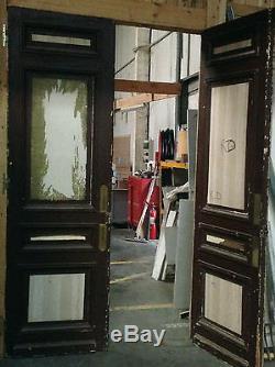 Paire de portes de séparation double faces en sapin massif moulurées XX siècle