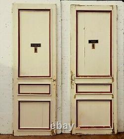Paire de portes en sapin massif Portes a trois panneaux moulurés XIX siècle