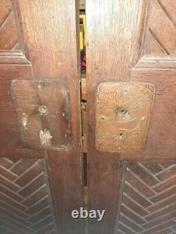 Paire de portes japonaise bois exotique année 30